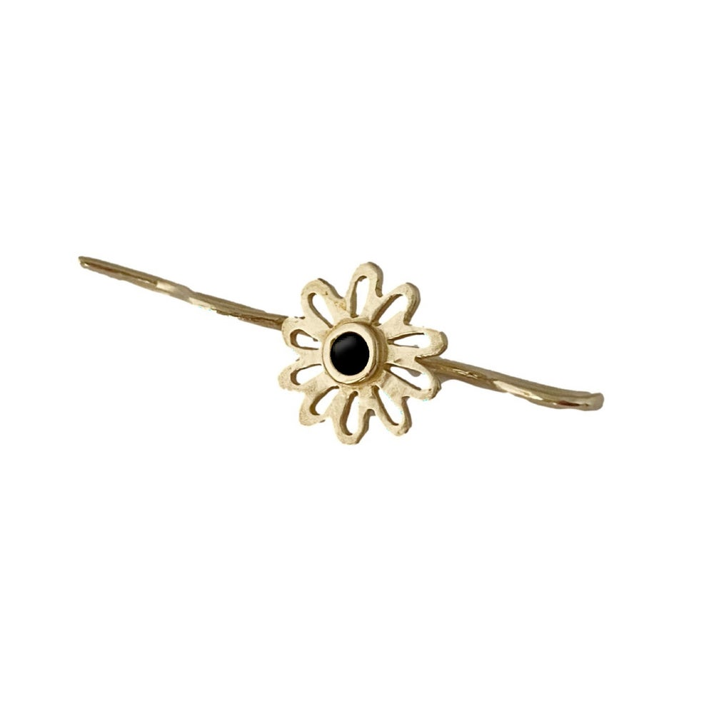 Image of Flower Bobby Pin with Black Onyx