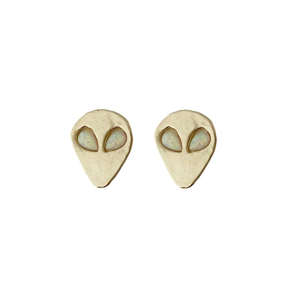 Image of Alien Earrings with Opal