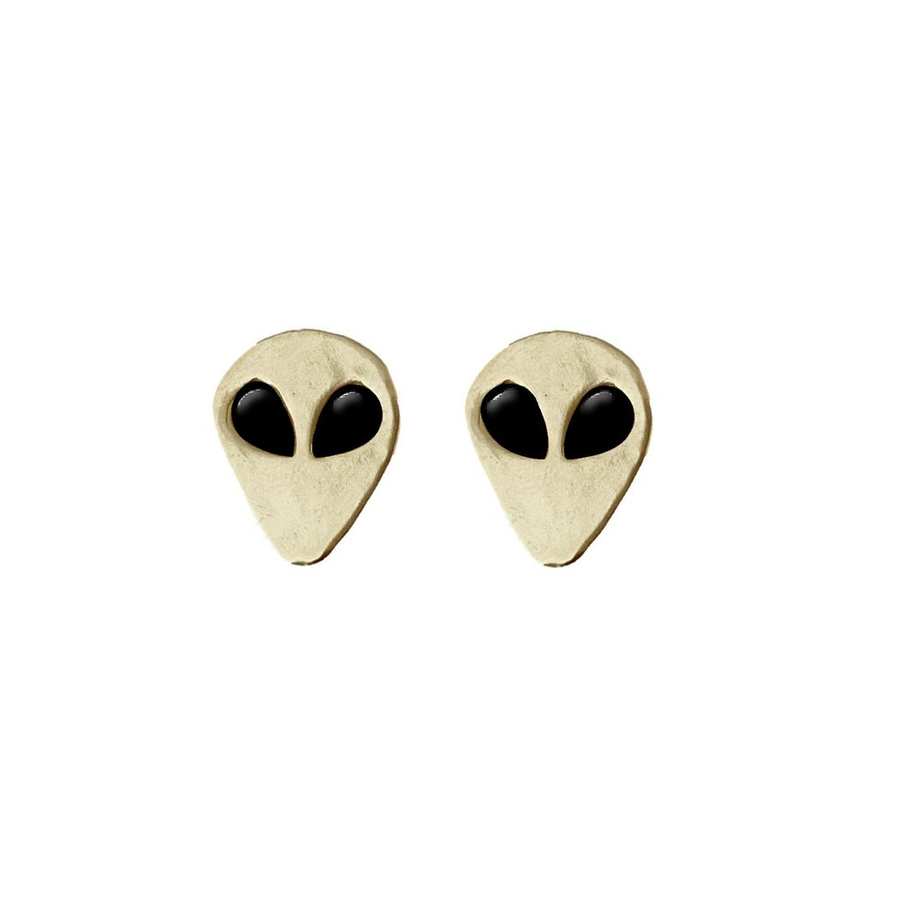 Image of Alien Earrings with Black Onyx