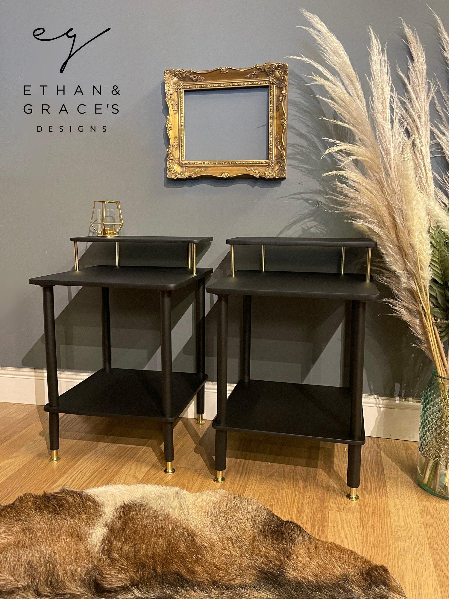 Image of Black & Gold bedside tables