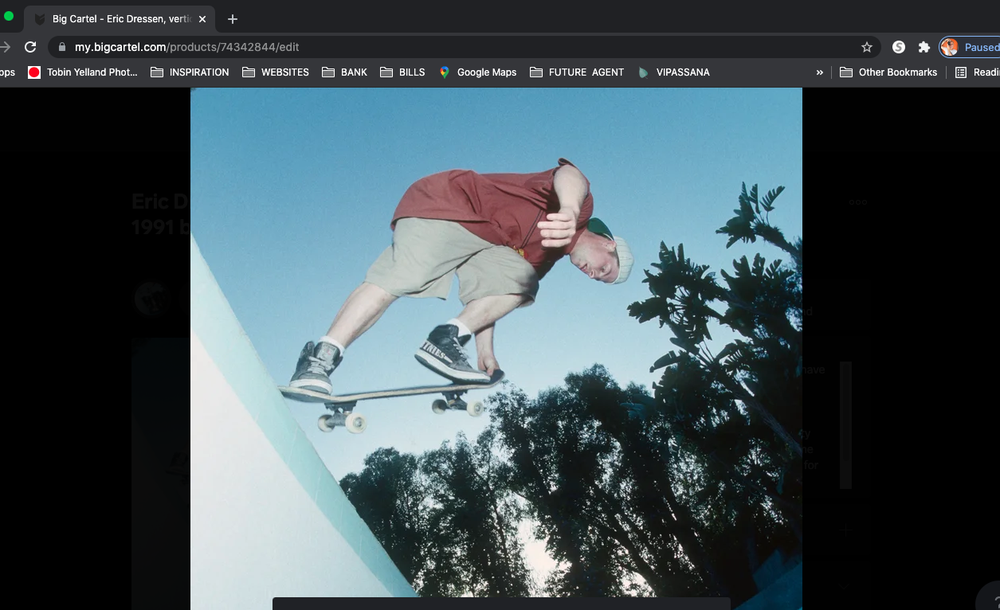 Eric Dressen, vertical wall tail tap, Skating with Natas LA 1991 by Tobin Yelland