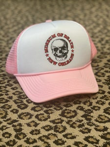 Image of M.O.D. New Orleans Logo Pink and White Trucker
