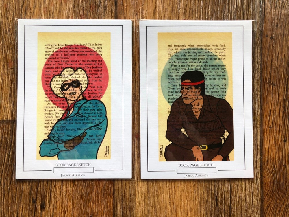 Image of The Lone Ranger & Tonto  Book Page Sketch Print Set