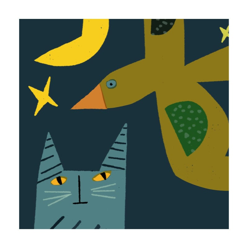 Image of Striped Cat and Spot Bird