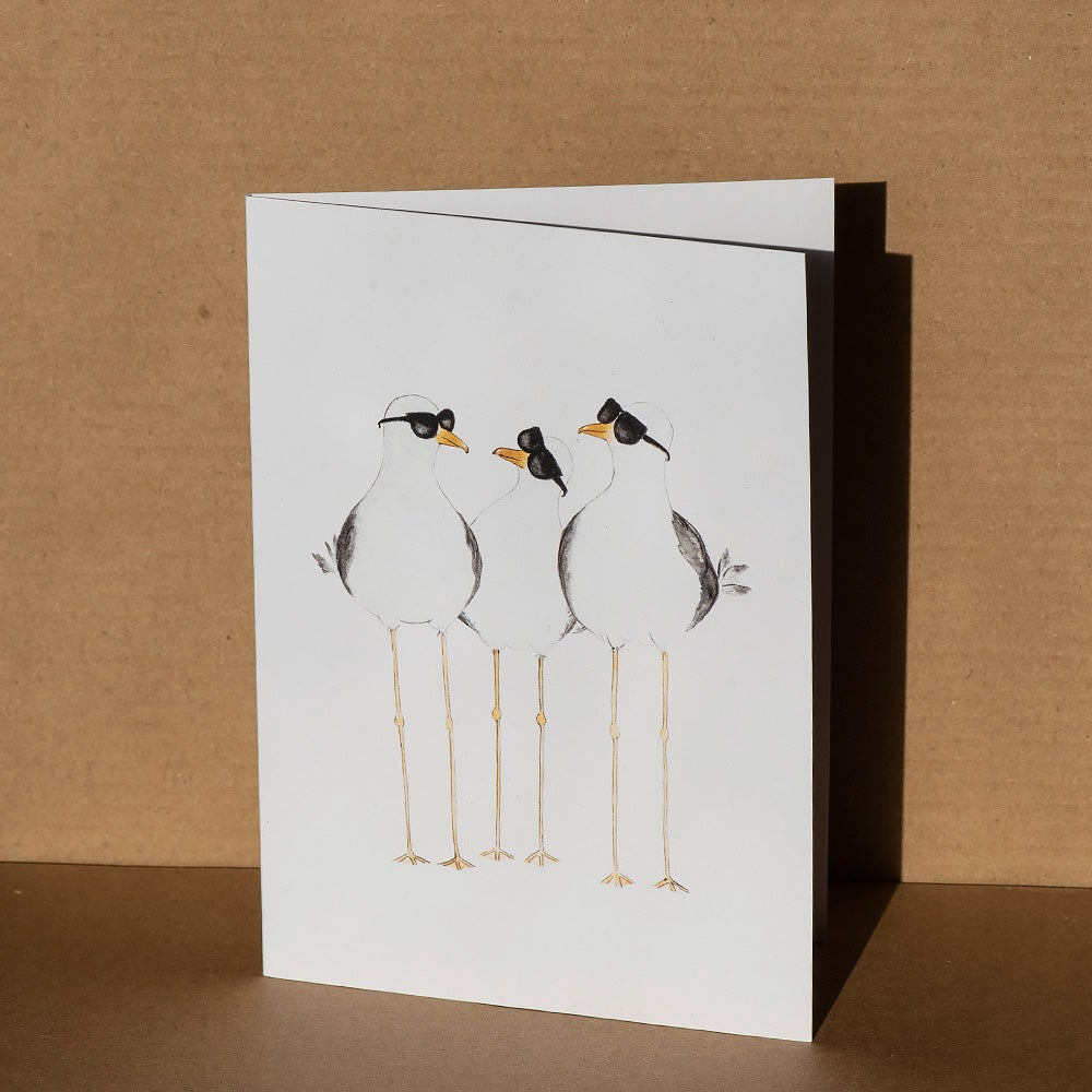 Image of Greeting card - 'The flock' seagulls