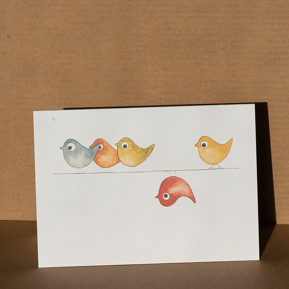 Image of Greeting card - Birds on a wire