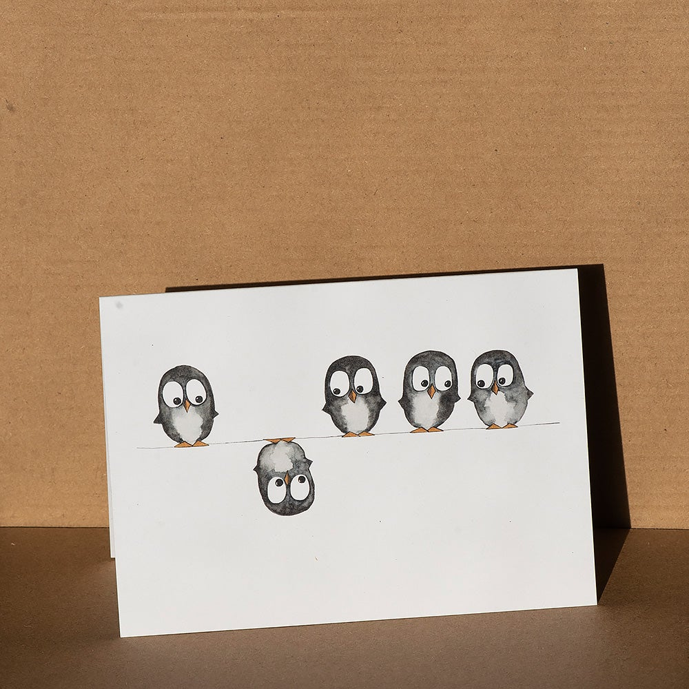 Image of Greeting card - Penguins on a wire