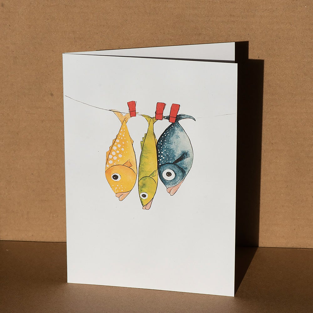 Image of Greeting card - Fish on a line