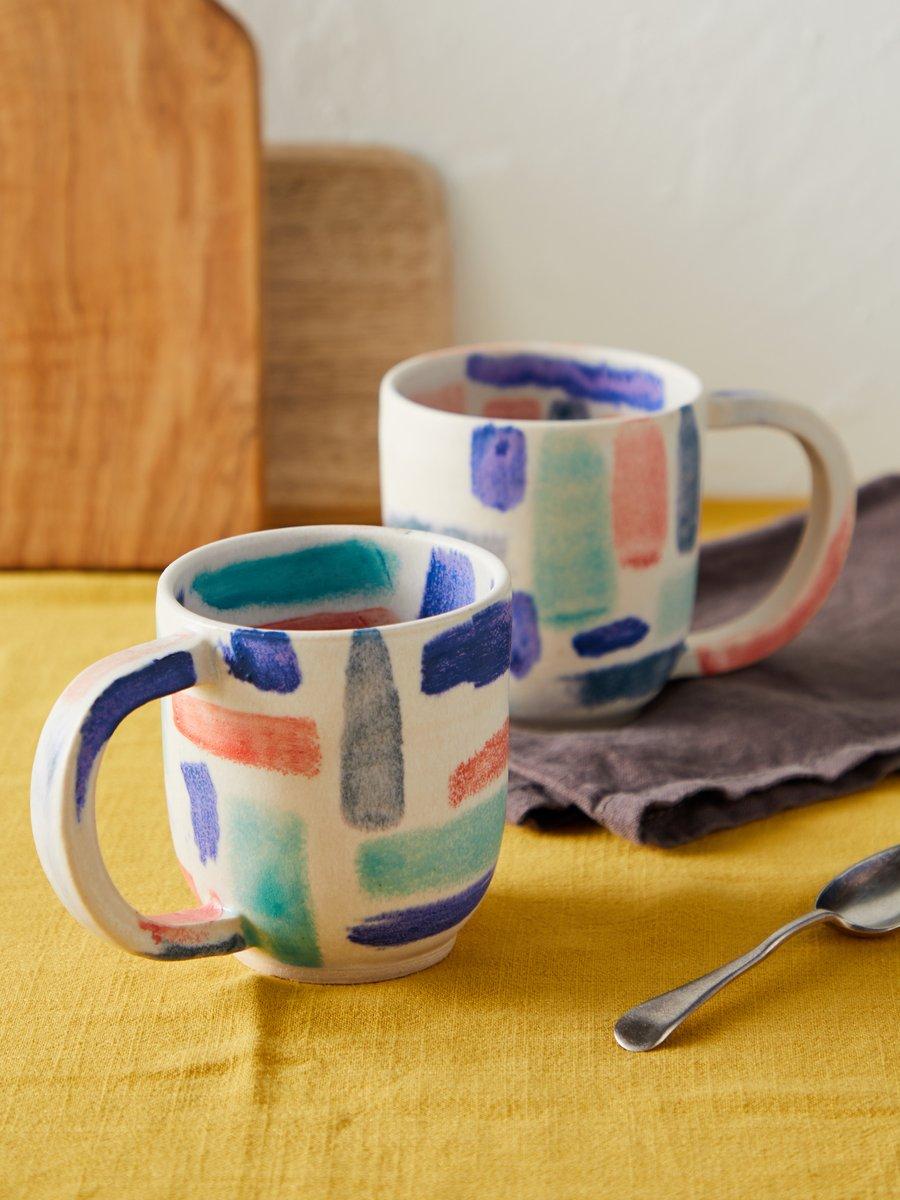 Image of Round handled mug in parquet pattern