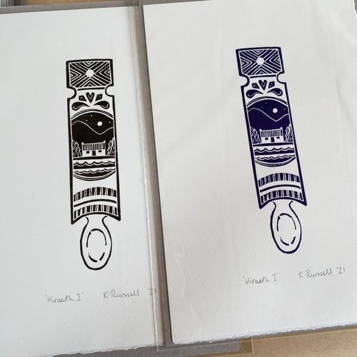 Image of 'Hiraeth I' Love-spoon Linoprint