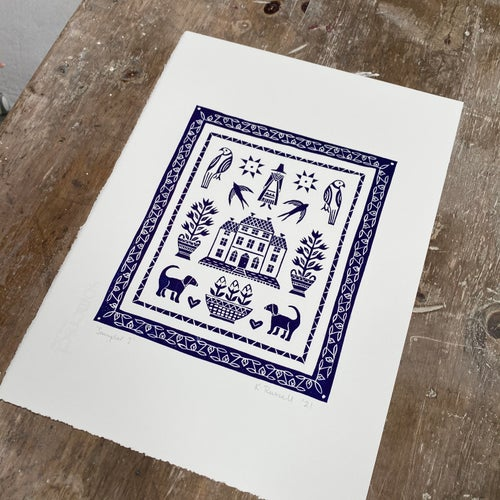 Image of 'Sampler I' Linoprint - Navy