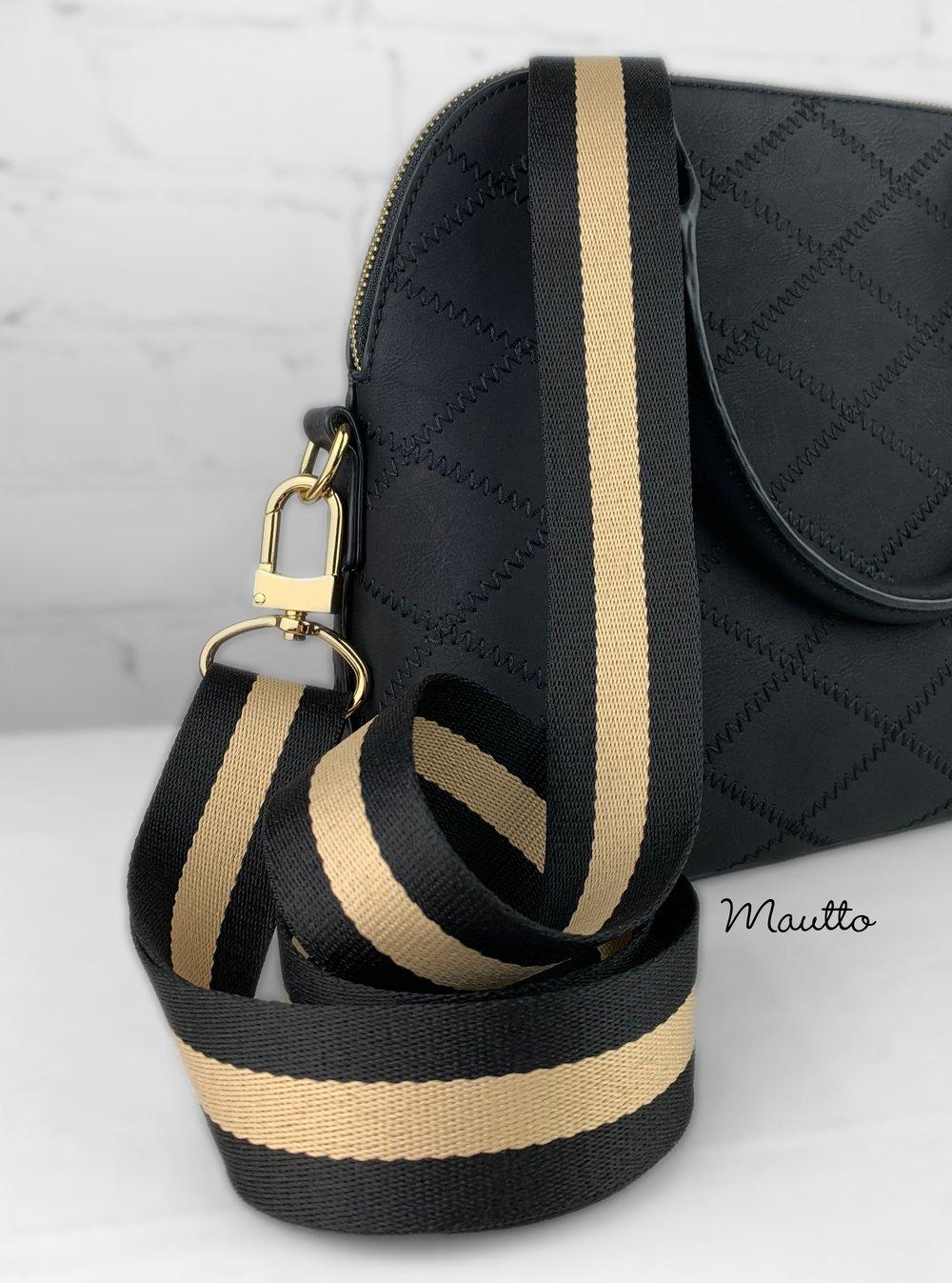 "Image of Black & Tan Strap for Bags - 1.5"" Wide Nylon - Adjustable Length - U Shape Style #16XLG Hooks"