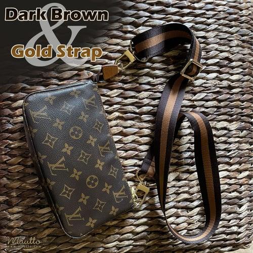 "Image of Dark Brown & Gold Strap for Bags - 1.5"" Wide Nylon - Adjustable Length - U Shape Style #16XLG Hooks"
