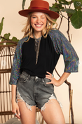 Image of Black Mix Rayon Jersey Top