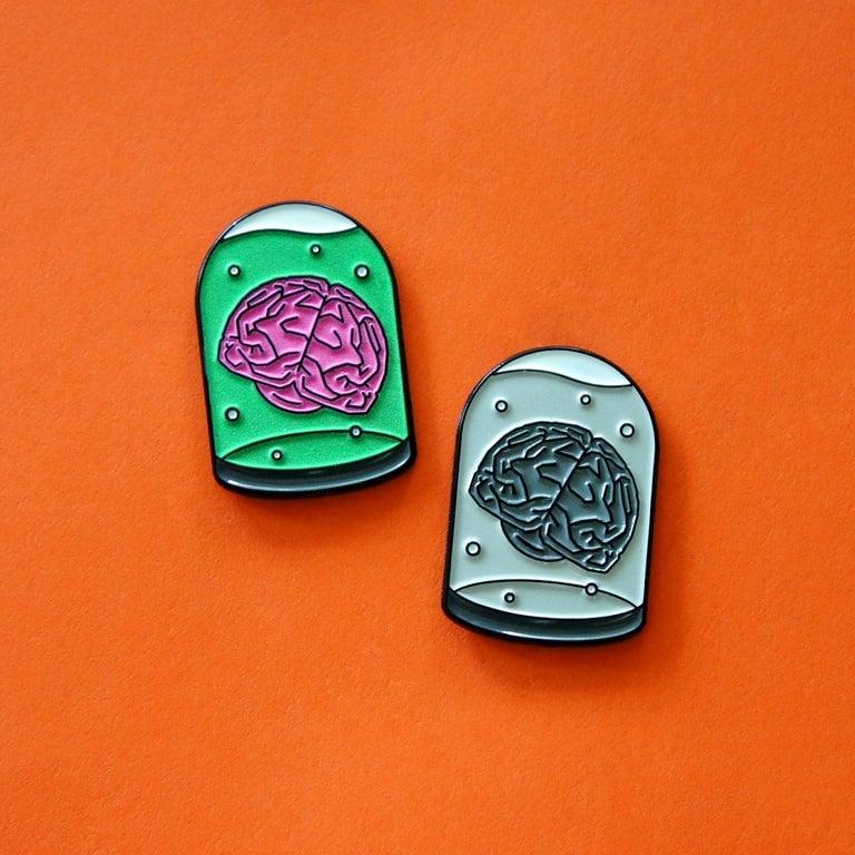 Brains in a Jar Enamel Pin