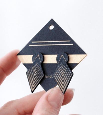 Image of Drop Arrow Studs in Black