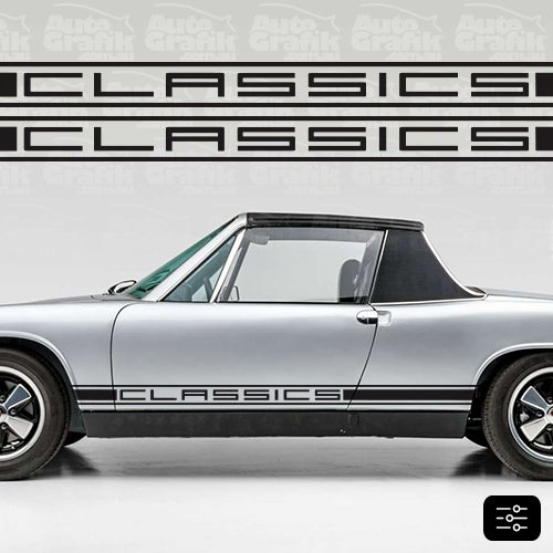 Image of CLASSIC-S 914 TYPE SIDE SCRIPT DECAL SET - YOUR CUSTOM TEXT