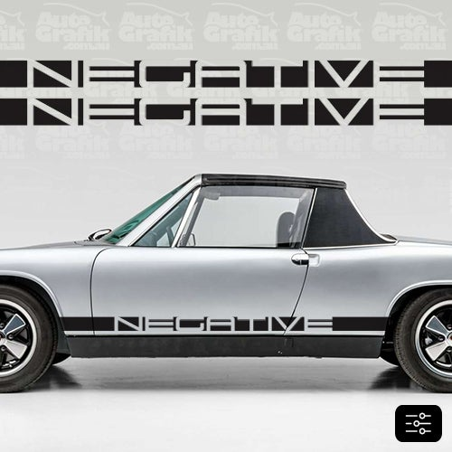 Image of NEGATIVE 914 TYPE SIDE SCRIPT DECAL SET - YOUR CUSTOM TEXT