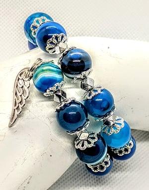 "Original ""Blue Sardonix Agate Wrap Bracelet"""