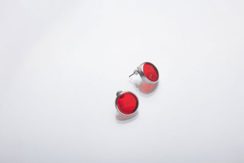 """Image of """"Sun is the end and the beginning"""" silver earrings with red plexiglass · SOL FINIS ET ORTUS ·"""