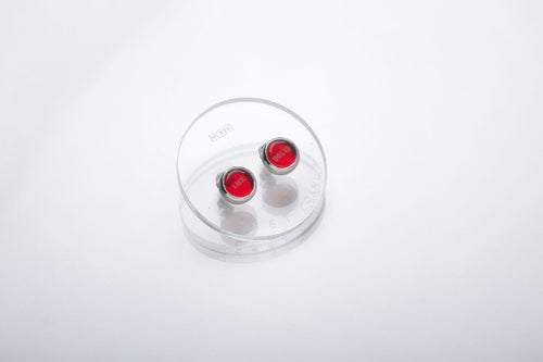 """Image of """"Light of the Sun"""" silver earrings with red plexiglass  · LUX SOLIS  ·"""