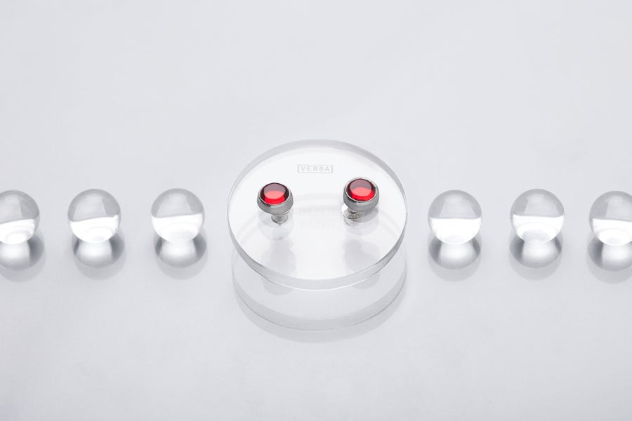 Image of Silver earrings with red plexiglass