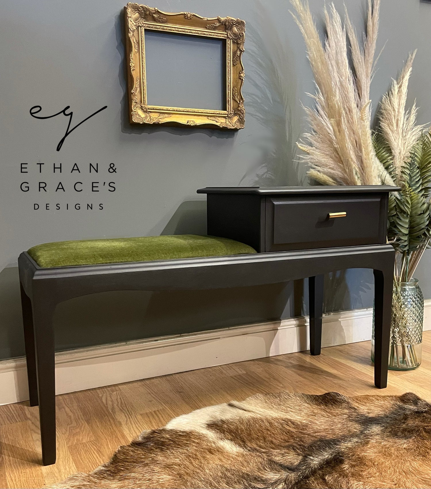 Image of Black green & gold telephone table