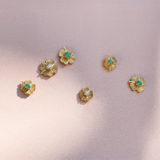 Image of Mya Earring / Emerald / Sapphire / Small / Large / 24K GOLD-COATED SILVER