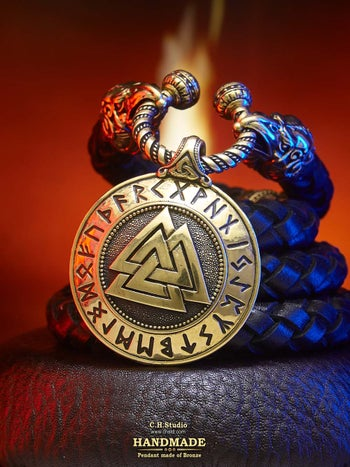 Image of Valknut with Futark Runes - Leather Necklace