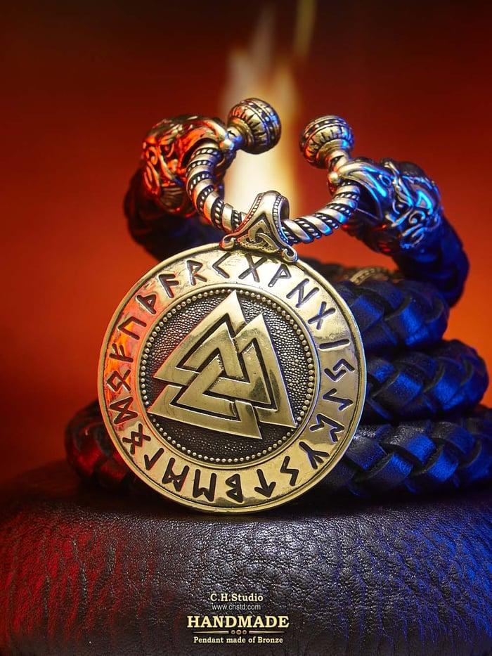 Valknut with Futark Runes - Leather Necklace