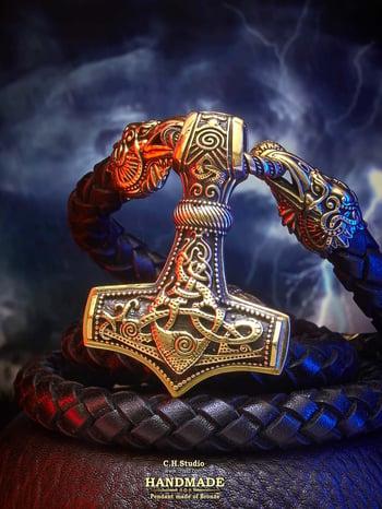 Image of Thor's Hammer : MJOLNIR : Luxury Leather Necklace
