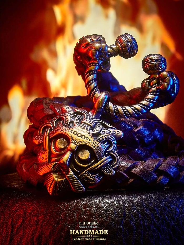 Odin's Mask - Leather Necklace