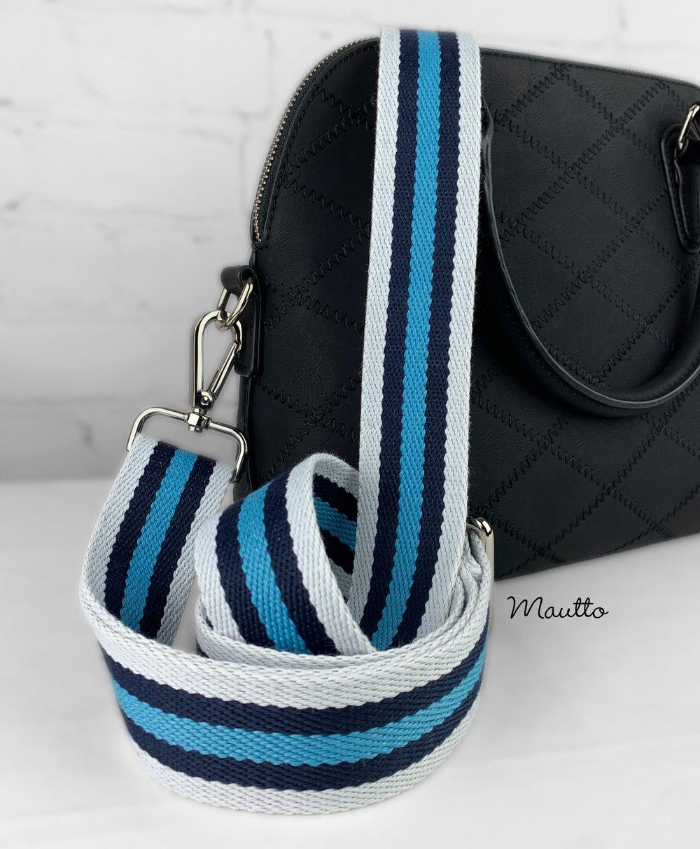 "Image of Navy-White-Blue Strap for Bags - 1.5"" Wide Cotton - Adjustable Length - Tear Drop Shape #14 Hooks"