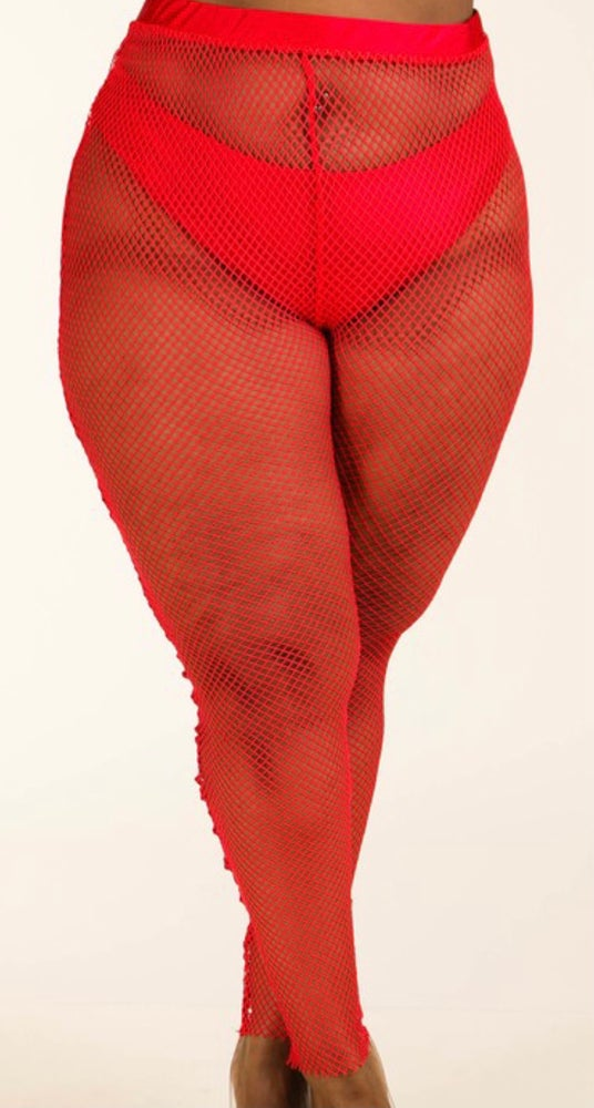 Image of #1117 RED PLUS SIZE PANTY LINED MESH LEGGINGS