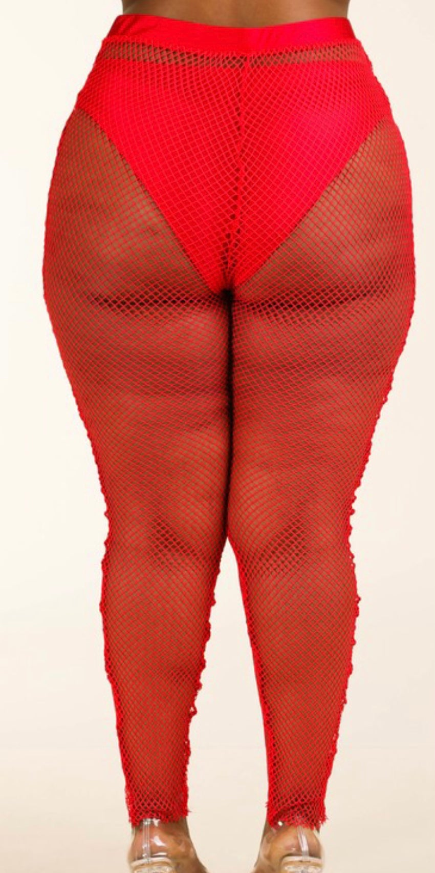RED PLUS SIZE PANTY LINED MESH LEGGINGS