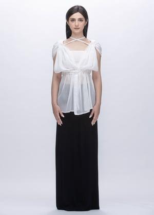 Image of Sheer Multi Way Tie Up Shoulder Top in White