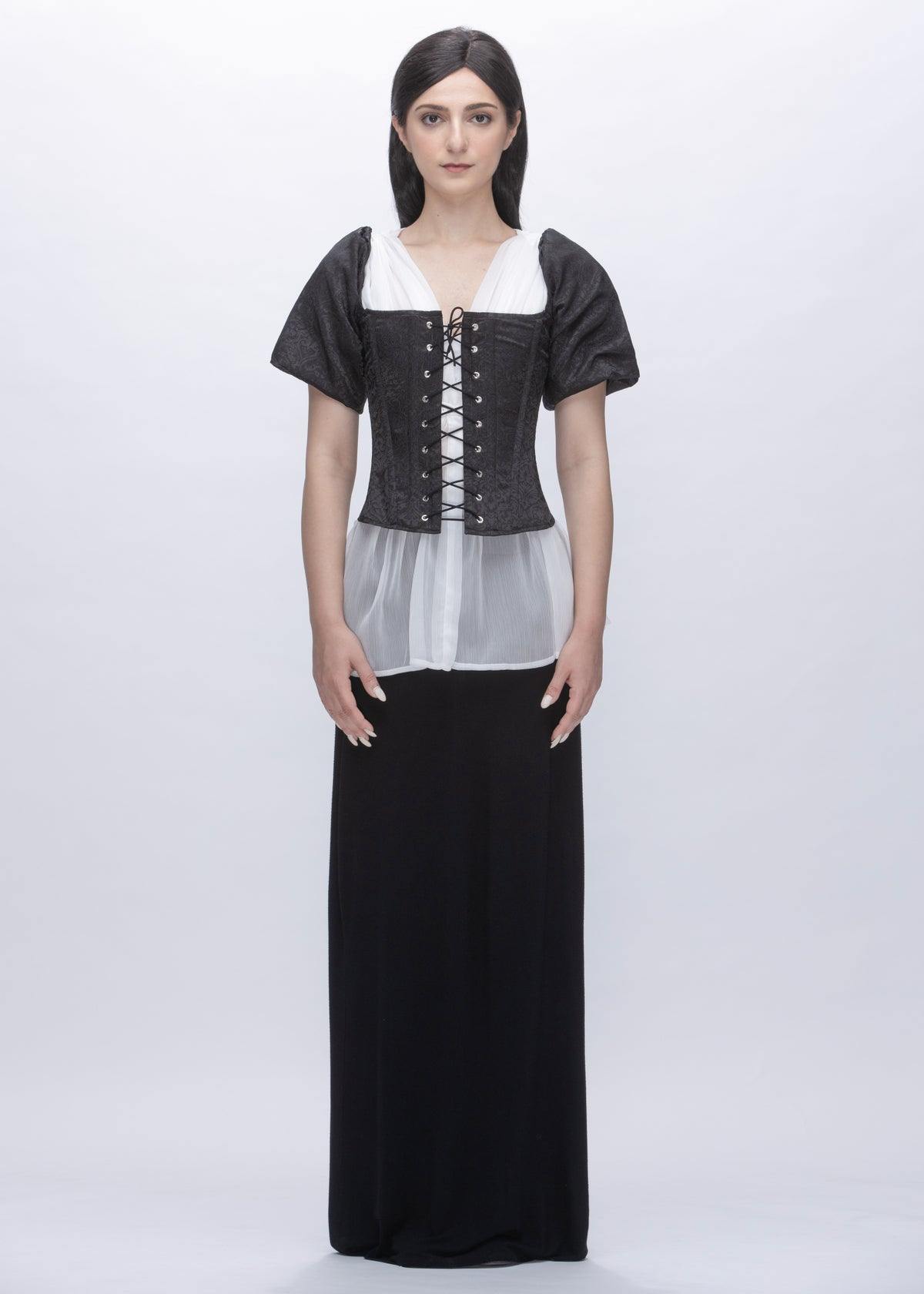 Image of Marie Puff Sleeves Coreset In Black Damask Sateen