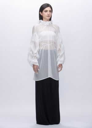 Image of  Ruff Collar Tie-detailed  Billowing Sleeves Sheer Top in White