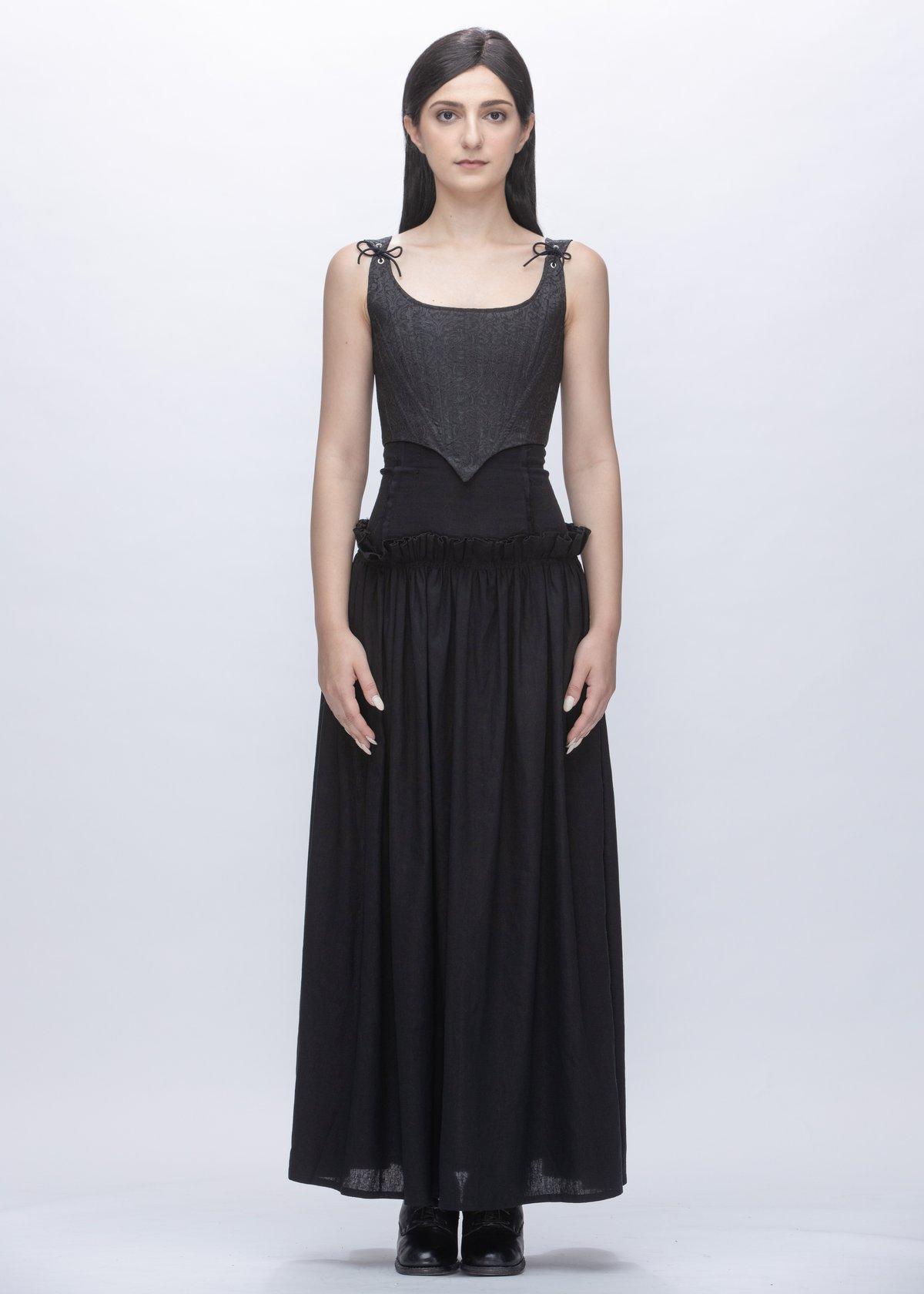 Image of Eleanor Coreset Vest In Black Damask Sateen