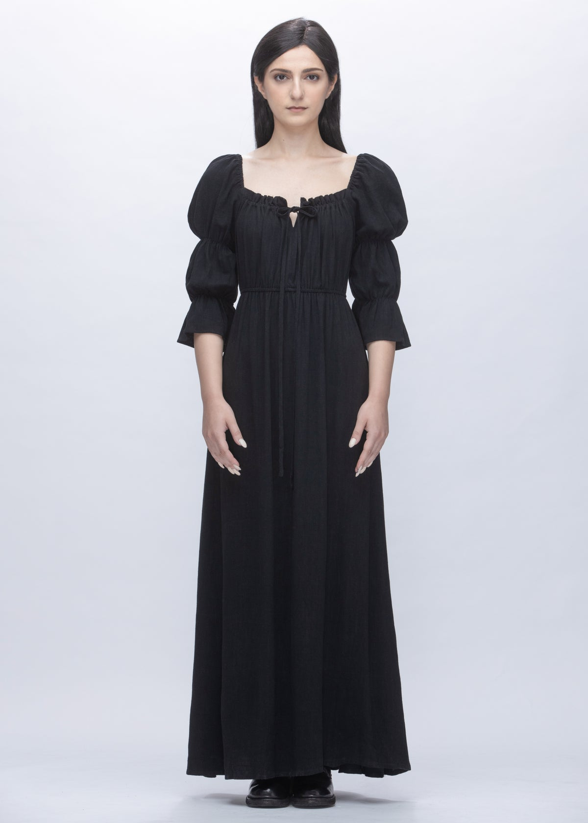 Image of Jane Dress With Puff Sleeves in Black