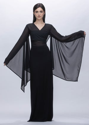 Image of Cape Sleeves Wrap Cropped Sheer Top With Hooded