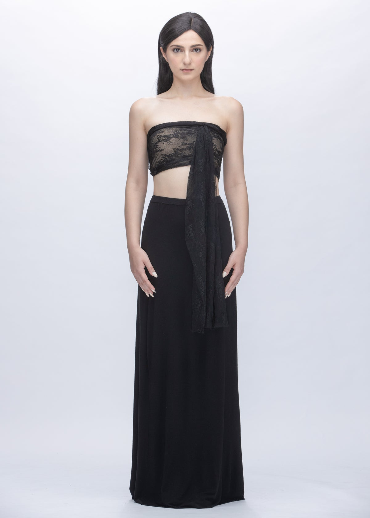 Image of Embroidered Lace Multi Way Tube Top in Black