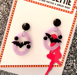 Image of Batty Dreadful Earrings -  Witchcraft Lilac