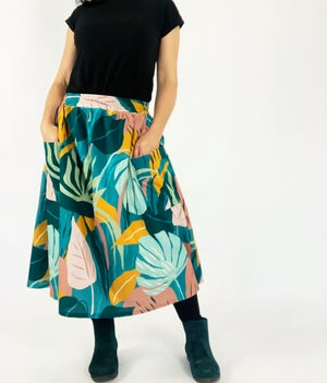 Ready Made Tropical Leaves Rachael Skirt with free postage