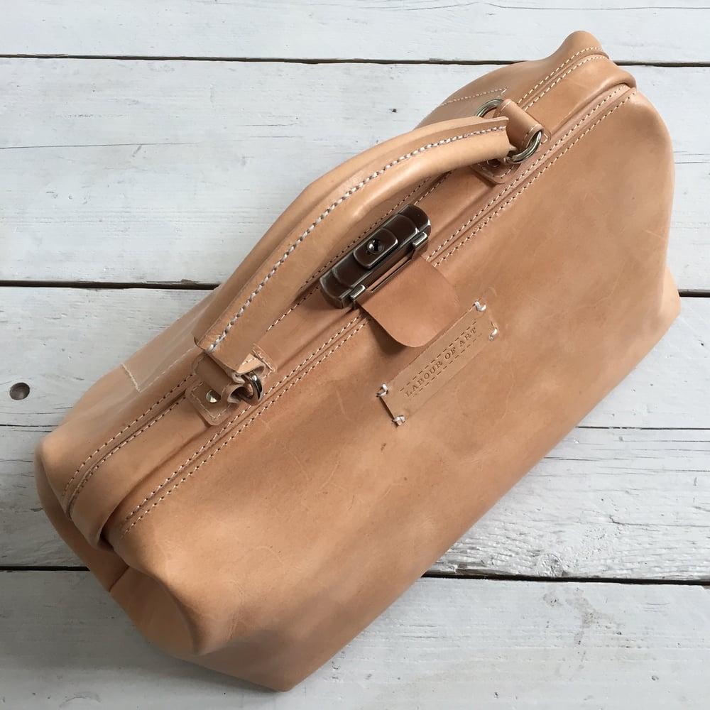 Image of Rectangular Leather Doctors Bag, Pale  Nude Vegtan Frame Bag, Medium Vintage Style Case