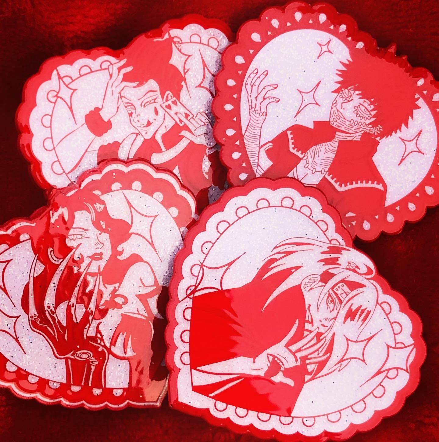 Image of Series Exclusive Villaintine's Hearts Set   SOFT ENAMEL PIN + EPOXY