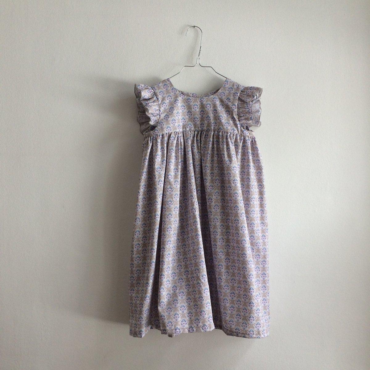 Greta Dress- beige/blue pattern