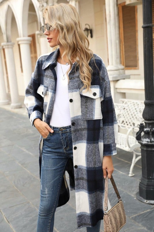 Image of Long Plaid Flannel Jacket - More colors MID AUGUST