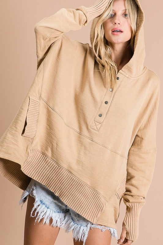 Image of Washed French Terry Oversized Solid Hoodie Top - more colors AUGUST