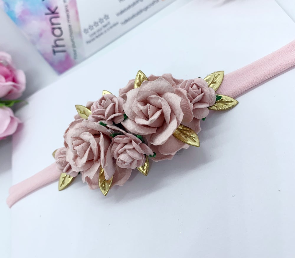 Image of Blush pink and gold Boho baby soft headband